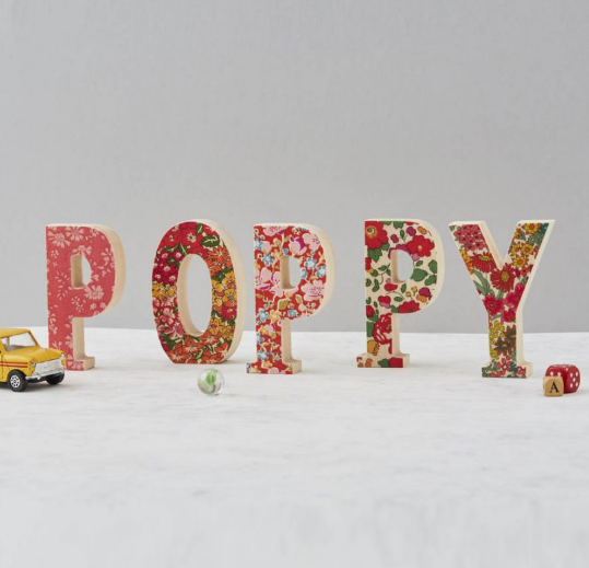 Liberty print fabric wooden letter - Rouge shades