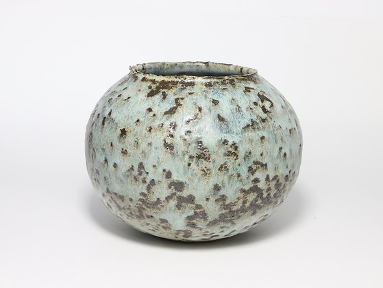 Speckled Black & Sea Green Pot with Copper