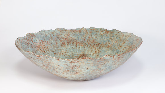 Large Blue Green & Rust Bowl with Copper