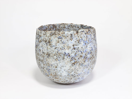 Small Pale Blue Speckled Pot with Manganese