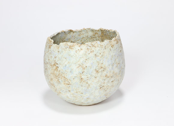 Small Pale Blue Pot with Rutile