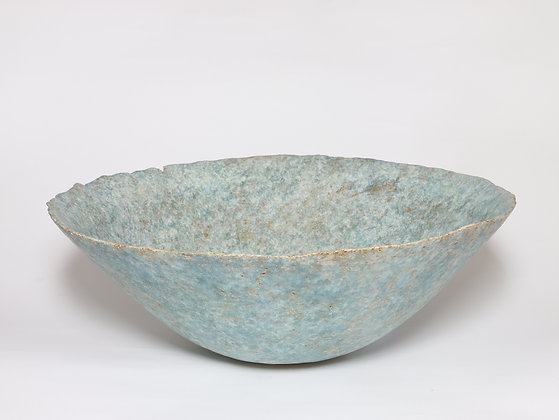 Large Blue Green Bowl with Copper