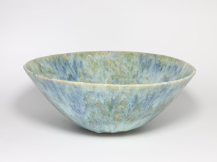 Pale Green Blue Bowl with Copper