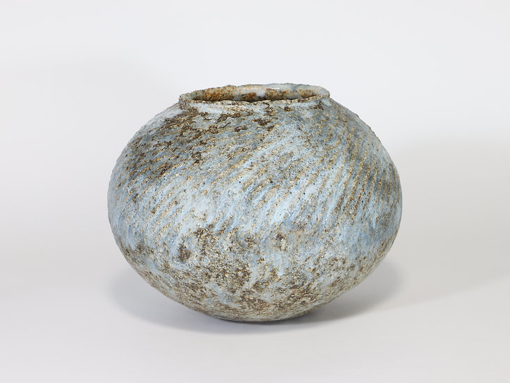 Grooved Pale Blue & Bronze Vase with Manganese