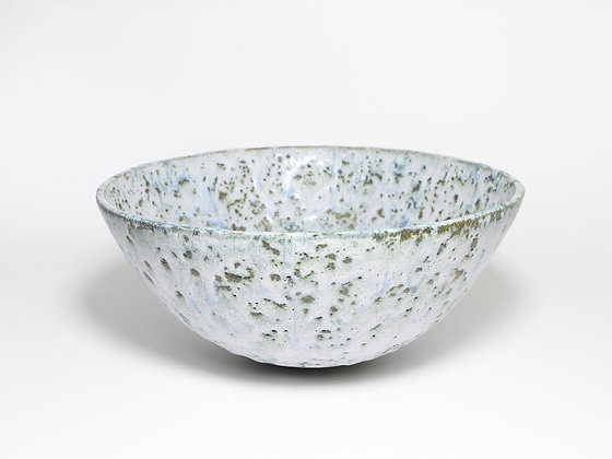 Speckled White Bowl with Blue & Chrome