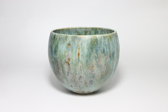 Blue Green Bowl with Copper