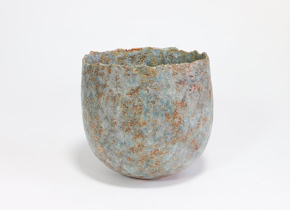 Small Blue Green Pot with Copper