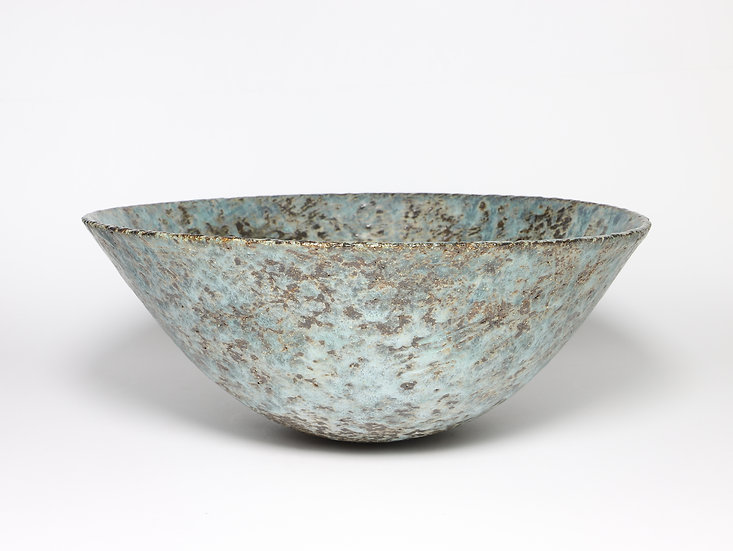 Sea Blue Bowl with Copper & Rutile