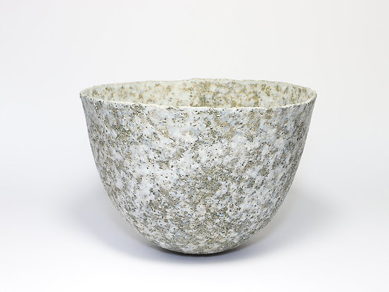 Speckled Grey Green Bowl with Chrome