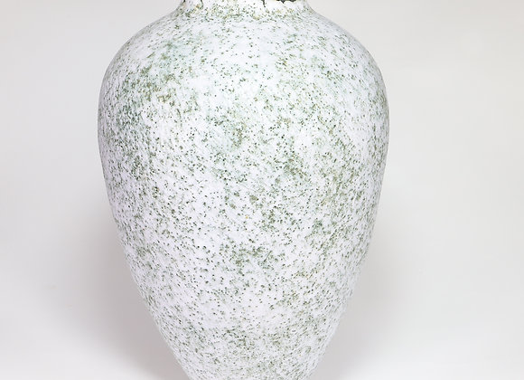 Large White Speckled Vase with Chrome