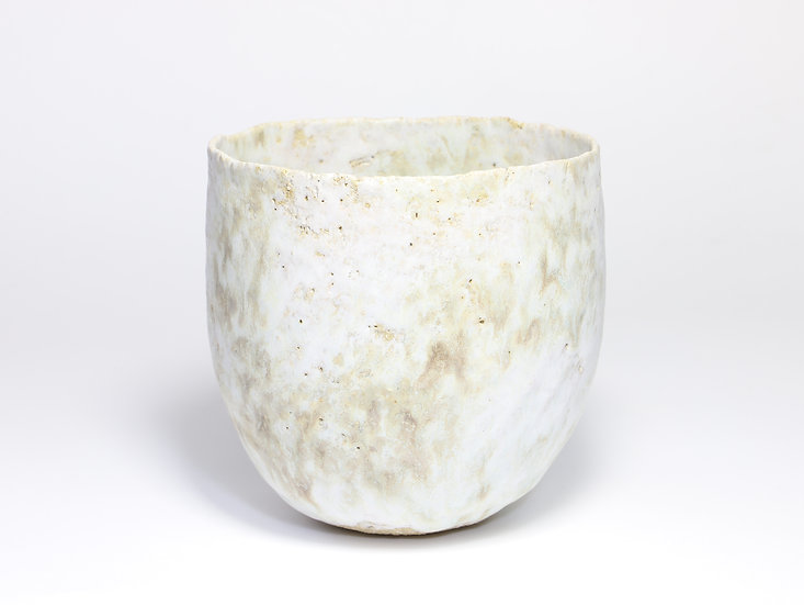 White & Pale Green Pinch Pot with Rutile