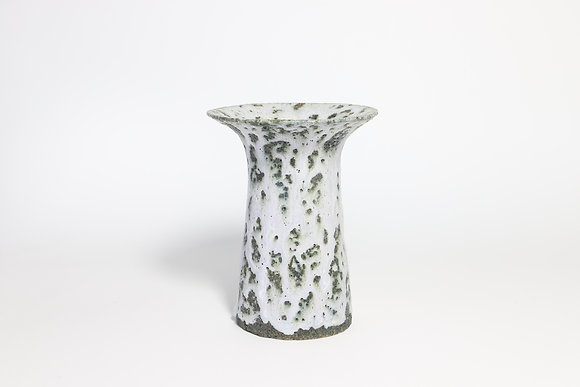 Small White Vase with Chrome