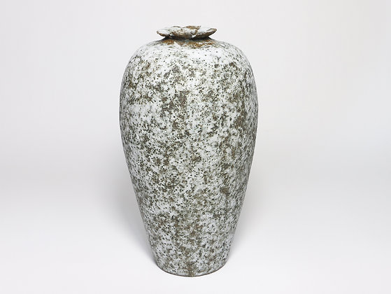 White & Bronze Speckled Vase with Chrome