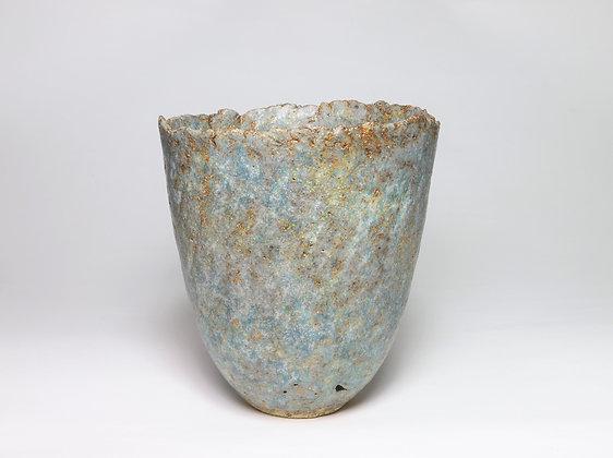 Small Pot with Sea Blue & Copper