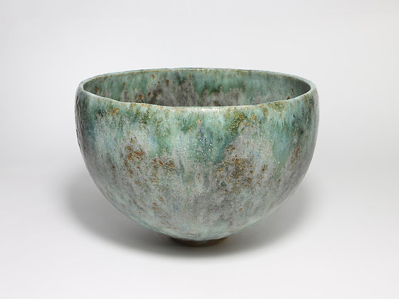 Round Green Bowl with Copper
