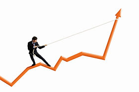 Image of businessman standing on graph a