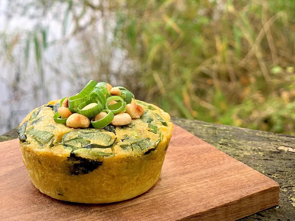 Små veganske spinatgratiner bagt i Omnia ovn