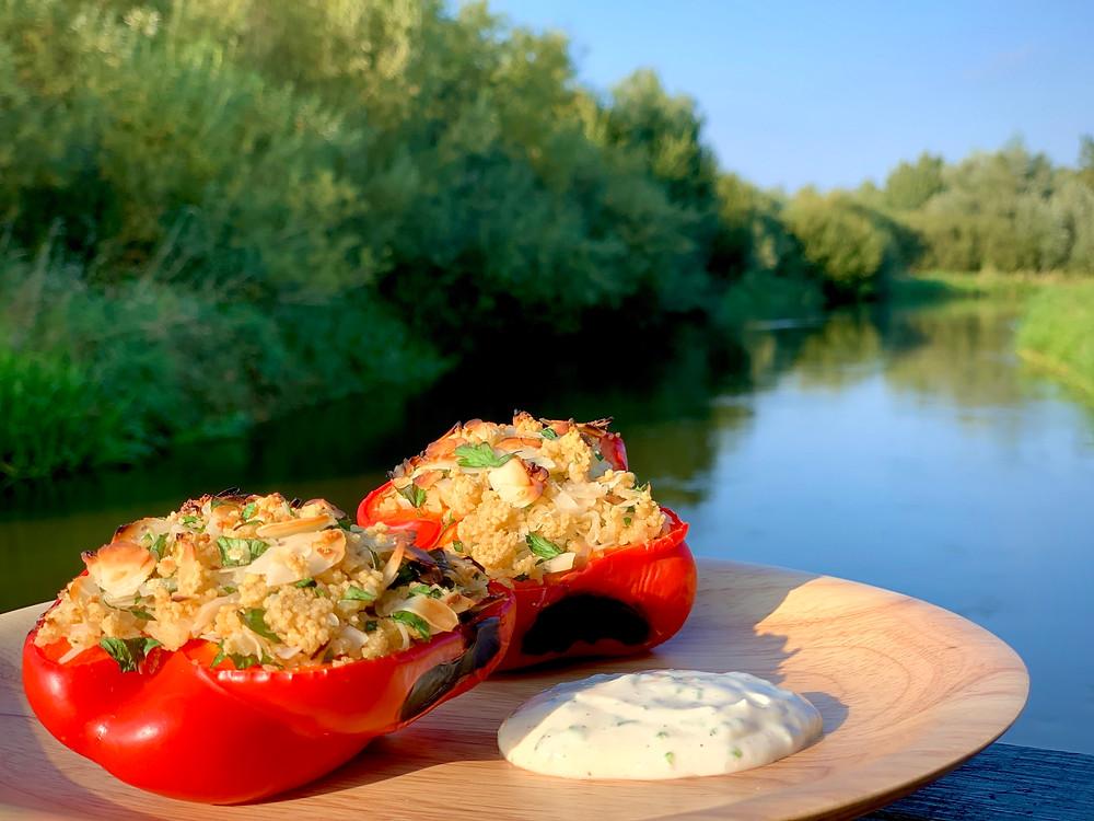Veganske fyldte peberfrugter tilberedt i Omnia ovn