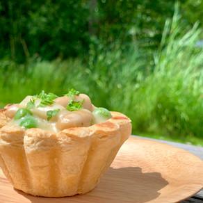 Tarteletter med butterbeans, asparges og ærter