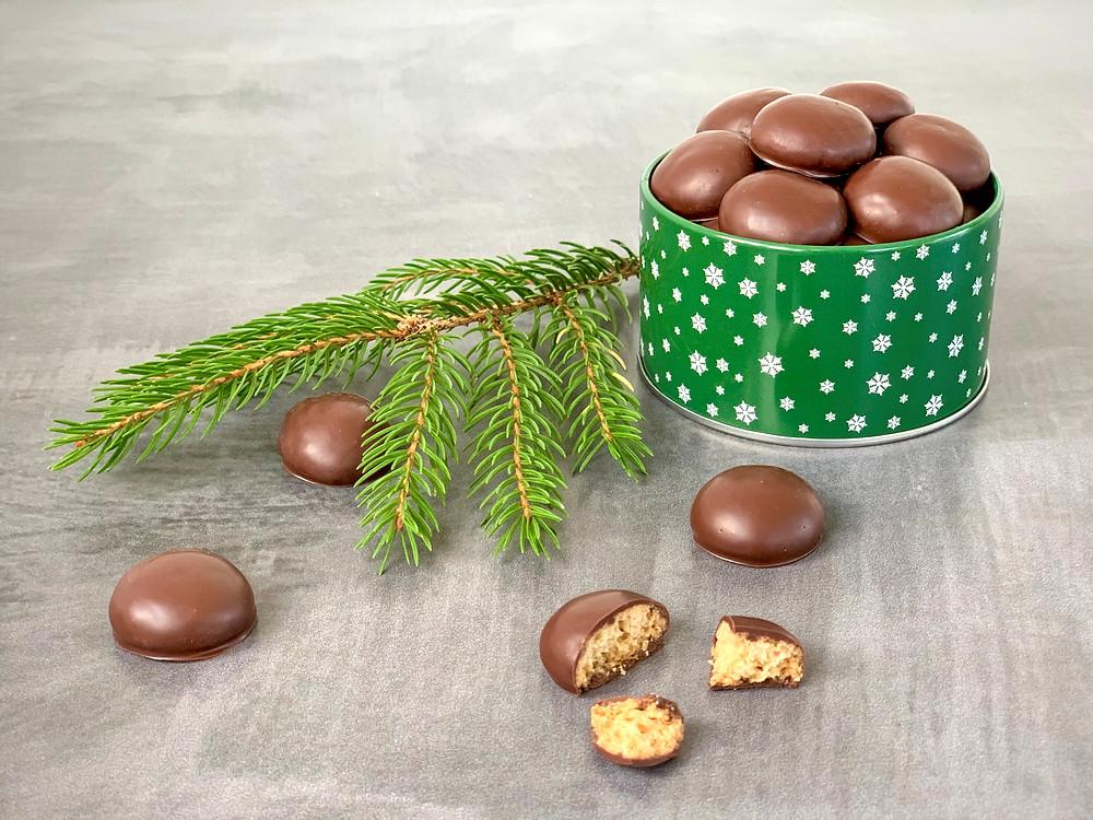 Veganske chokoladeovertrukne pebernødder