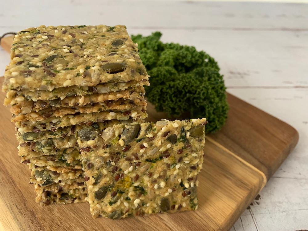 Veganske knækbrød med grønkål