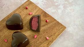 Chokoladehjerter med hindbærganache