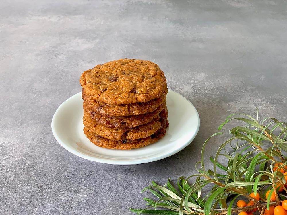 Veganske cookies med havtorn og chokolade