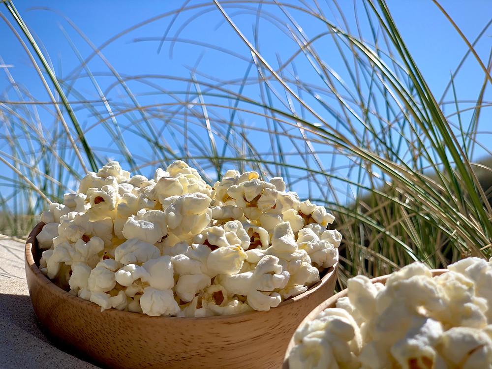 Veganske popcorn lavet i Trangia