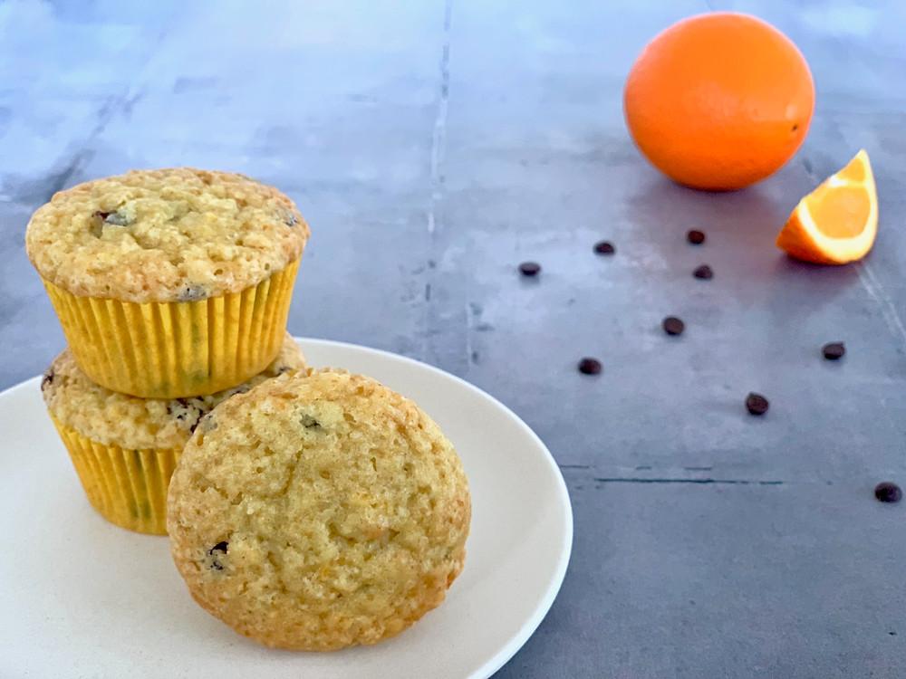 Veganske appelsinmuffins med chokolade