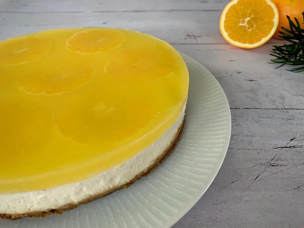 Vegansk Appelsin cheesecake på peberkagebund