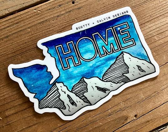 "Blue WA ""HOME"" MTN Sticker-Large 4x2.65"""