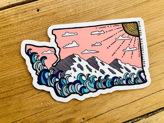 Pink Skies WA State Sticker