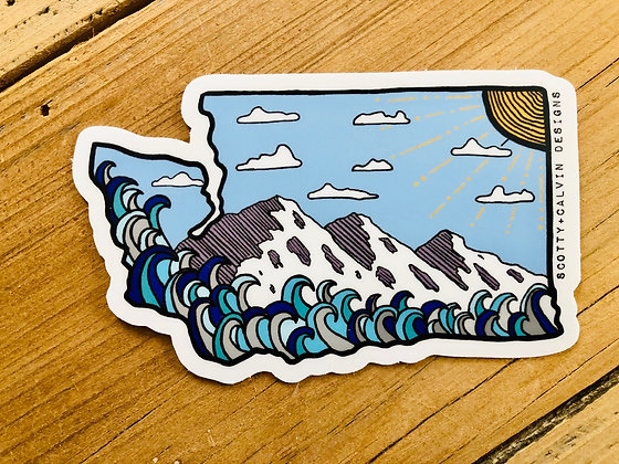 Blue Skies WA State Sticker