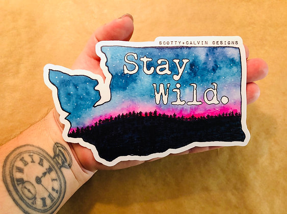"WA State""Stay Wild"" XL Sticker"