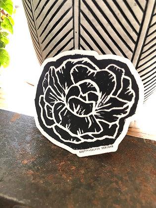 Stamped Peony B+W Sticker