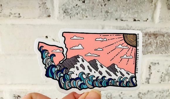 Pink Skies WA State Sticker