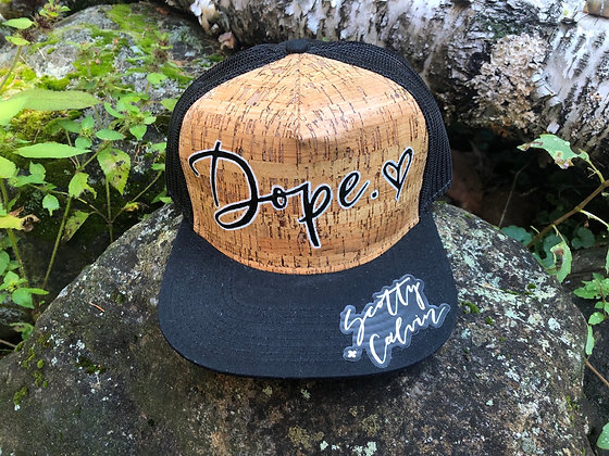 "Hand-Painted Cork Hat ""Dope"""