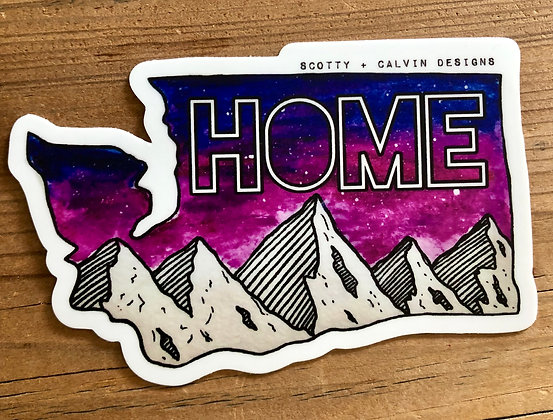 "Pink WA ""HOME"" MTN Sticker-Large 4x2.65"""