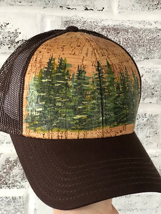 Hand-Painted Trees Cork Hat