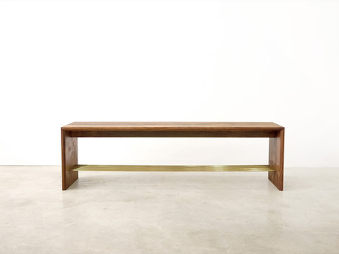 Bench with brass shelf