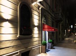 Entrance seen at night