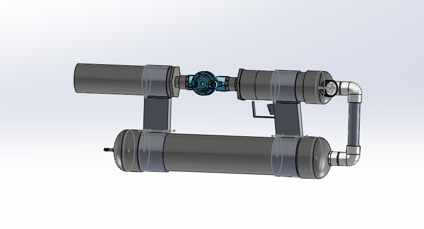 A CAD model of an air pressure cannon made out of PVC pipe and a sprinkler valve