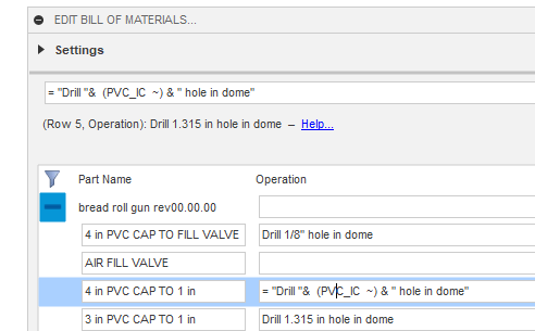 A screenshot of the Bommer for Autodesk Fusion 360 software showing a formula that uses a design parameter to construct text work instructions