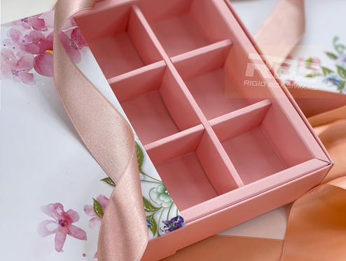 Pink Drawer Box with partitions from Sivakasi Rigid Box manufacturer in India