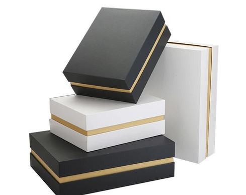 Luxury Black White and Gold Rigid Boxes from Indian Supplier in Sivakasi