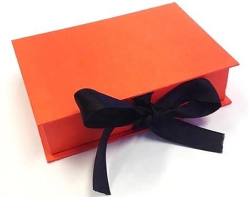 Bright Orange Rigid Box with Black Ribbon amazing Paer Packaging Rigid Box Creations at Sivakasi