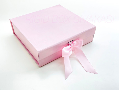 Pink Rigid boxes with beautiful grosgrain ribbon gift box paper from Sivakasi