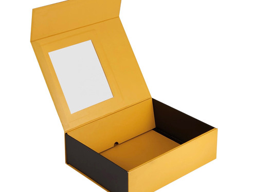Flat fold collapsible Rigid Box with transparent window