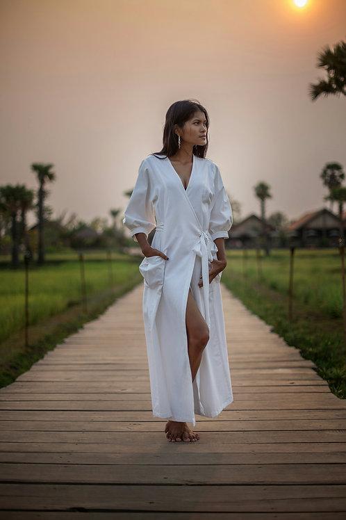 NoteKo Linen Resort Wrap Dress