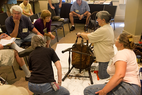 Mindy White doing demo with Windsor Chair
